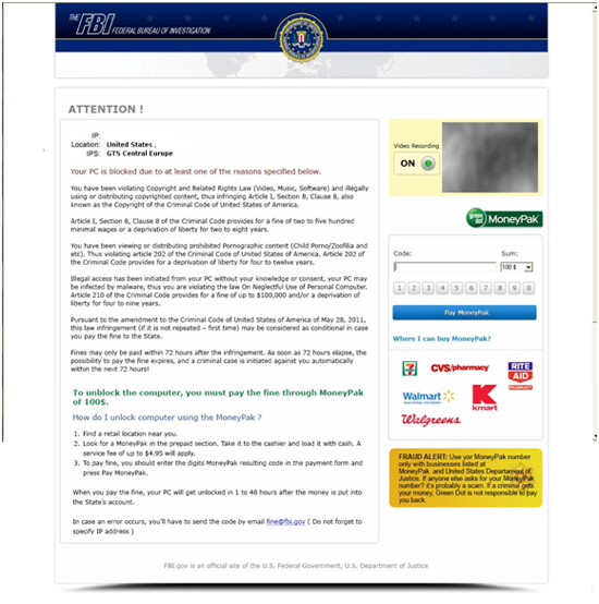 of FBI Moneypak Virus: