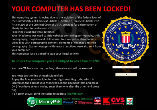 Have received a FBI warning virus? Got FBI warning moneypak message on