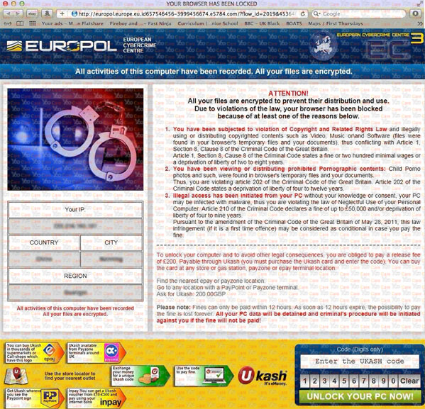 Europol Virus locked browser on mac
