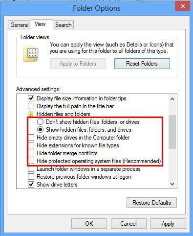 View Tab in Folder Options Window