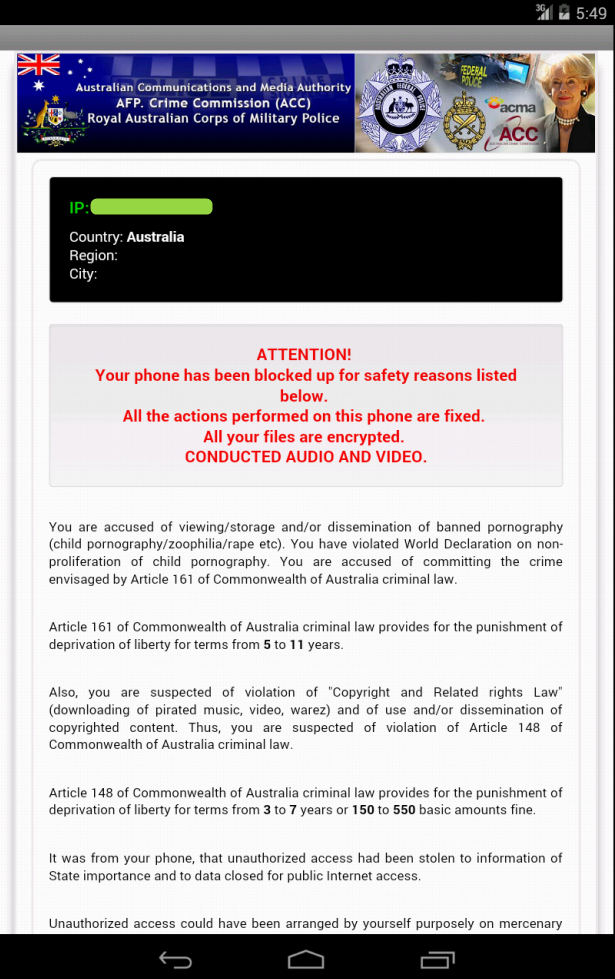 AFP Crime Commission Virus on Android Phone