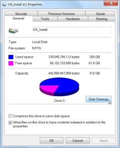 disk properties window
