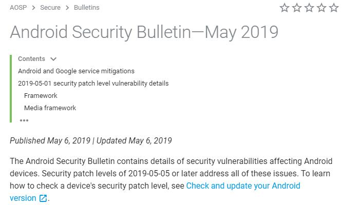 Android security patch of May 2019 is available, a total of